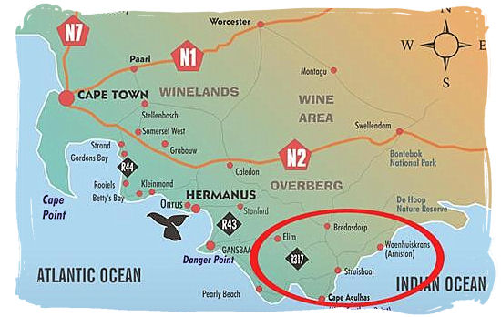 Location of the most southern tip of Africa at Cape Agulhas