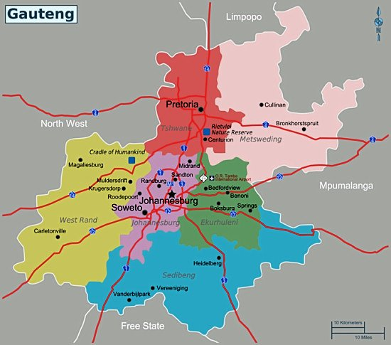 map showing how Gauteng Province has been divided into metropolitan and municipal areas - Interactive Map of Johannesburg South Africa