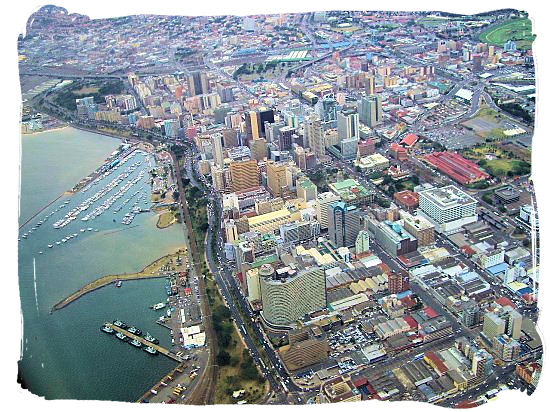Aerial view of Durban CBD with the yacht harbour showing on the left
