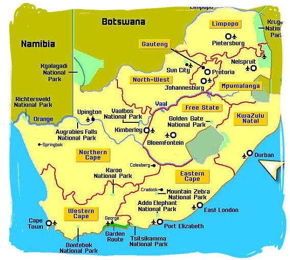 Map of South Africa giving you an overall idea of the lay of the land and showing the location of Durban