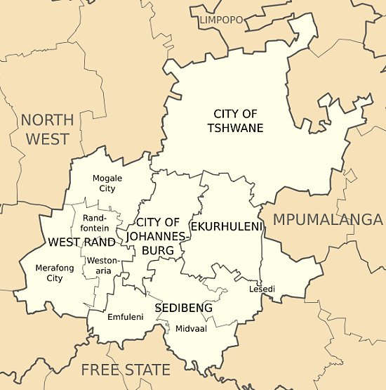 Map showing how Gauteng basically consists of two metropolitan areas, the City of Tshwane metropolitan area and the Johannesburg metropolitan area - Interactive Map of Johannesburg South Africa