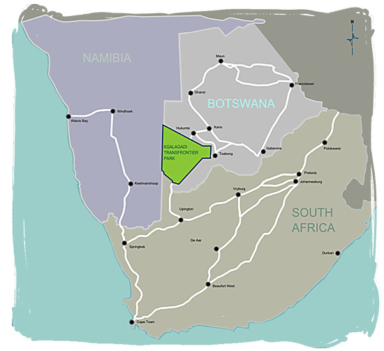 Whereabouts of the Kgalagadi Transfrontier National Park - Kgalagadi map