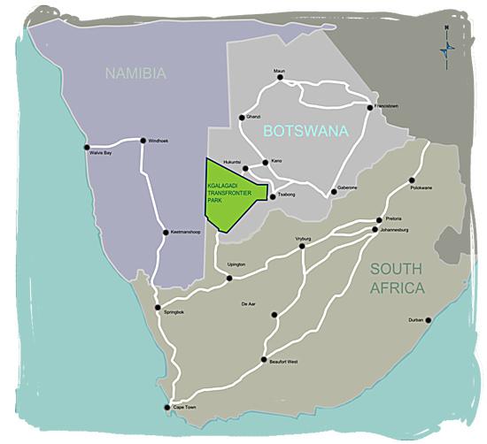 Whereabouts of the Kgalagadi Transfrontier National Park - Kgalagadi map