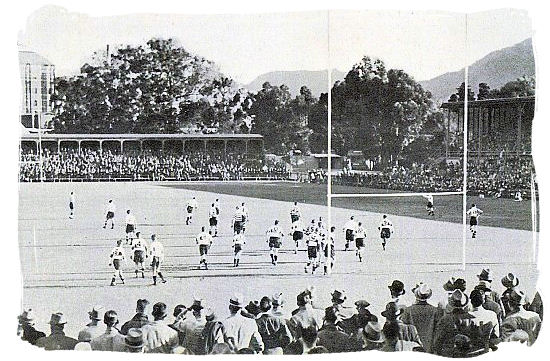Newlands after the war, showing the South stand on the left and the Main stand on the right. The game in progress is between Province and Transvaal - South Africa Rugby, Tri Nations Rugby and Super 14 Rugby
