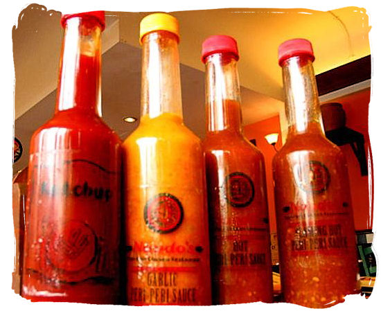 Variety of Peri-Peri sauces - Portuguese food cuisine in South Africa