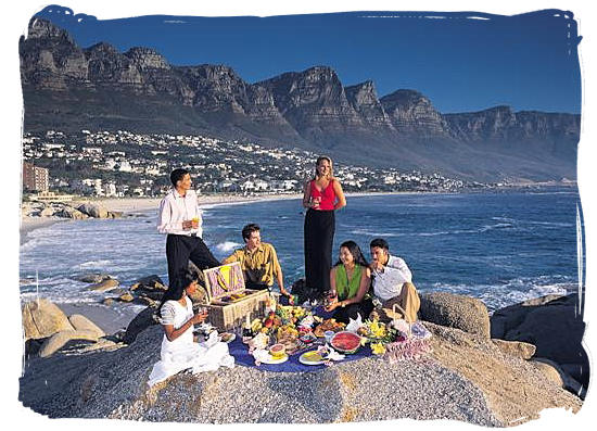 Picnic on the rocks at Camps Bay Cape Town - Delicious food in South Africa, South African food guide