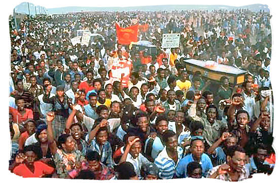 A funeral ceremony and demonstrations rally in 1985 - History of Apartheid in South Africa