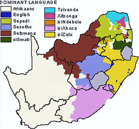 Map showing the distribution of the population in South Africa by language group