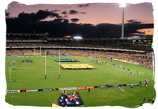 Just before the start of a Tri-Nations rugby match between Australia and South Africa at the Subiaco Oval in Perth - South Africa Rugby, Tri Nations Rugby and Super 14 Rugby
