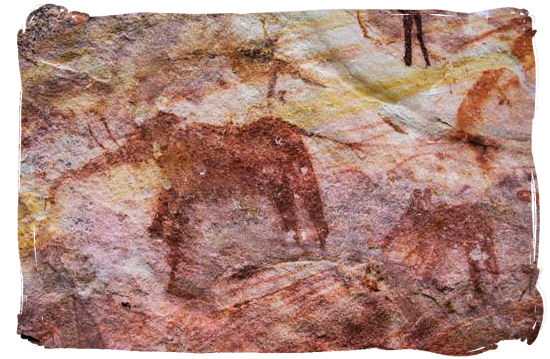 Rock painting by the San people of an elephant and what seems to be her calf.