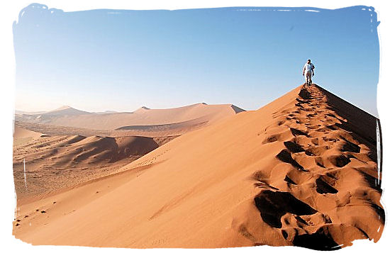 On top of a sand dune in the Namib desert in Namibia