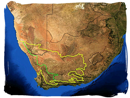 Satellite map of South Africa showing the Karoo region, the area within the yellow line