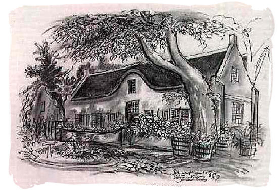 Sketch of a 17th century farm house in the cape colony - The Great Trek in South Africa