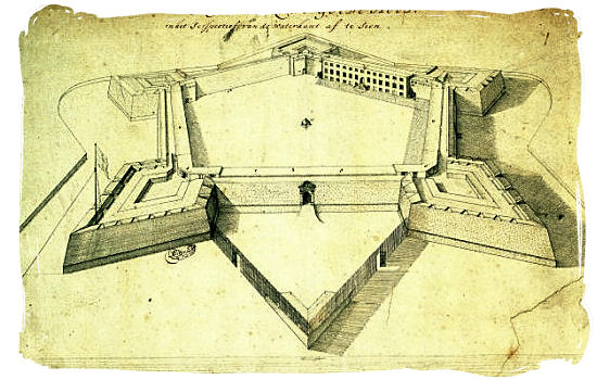 Sketch of the Castle in the year 1680 - Castle of Good Hope, Dutch East India Company, Jan van Riebeeck