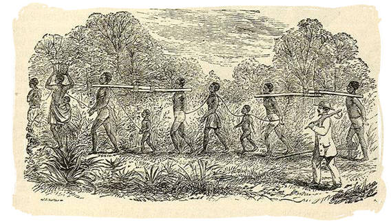 An antique sketch of a slave transport in Africa - Slaves in South Africa, History of Slavery in South Africa