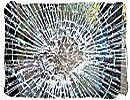 Broken motorcar windscreen