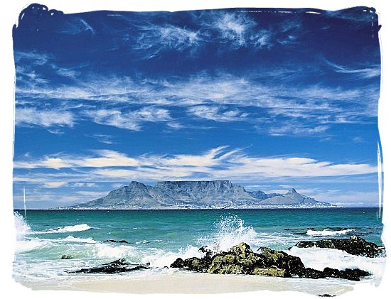 Table Mountain with Cape Town at its feet viewed from Robben Island, South Africa