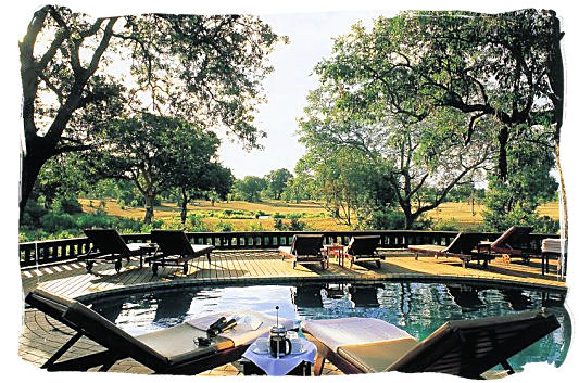 Pool deck of one of the lodges at Sabi Sabi private game reserve.