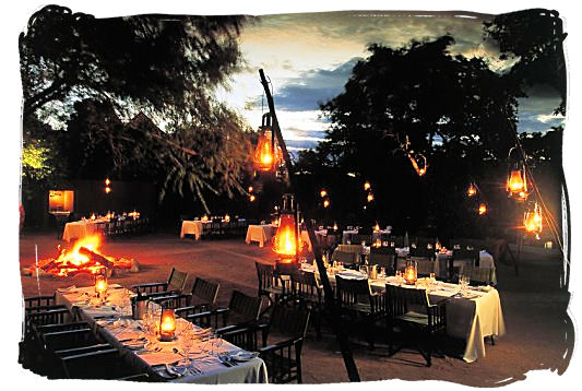 Dinner is ready in the Boma at Sabi Sabi Selati Lodge.