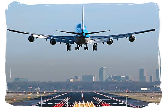 Airplane landing at O.T. Tambo International Airport at Johannesburg