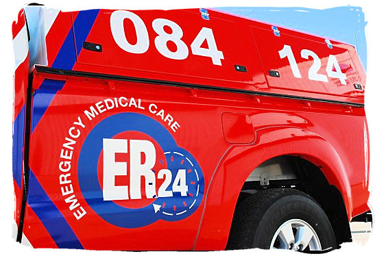 Emergency vehicle of ER24 emergency medical care and response services in South Africa