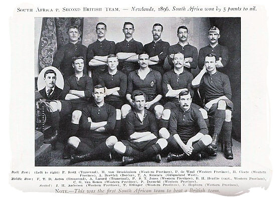 This was the first South African team to beat a British team. The match was between the South Africans and the second British team played at Newlands in the Cape in 1896. South Africa won by 5 points to nil - South African Rugby, South Africa Rugby Team, Early Days