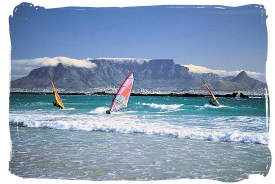View of Table Mountain from blouberg beach with Devil, s Peak on the right and Lion's Head on the left - Table Mountain Cape Town South Africa