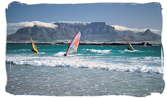 Table Mountain, the world renown landmark of cape Town as seen from Blouberg beach