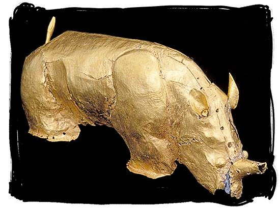 The famous Golden Rhinoceros, artefact of an ancient civilisation - Mapungubwe National Park, cultural landscape, region, ruins