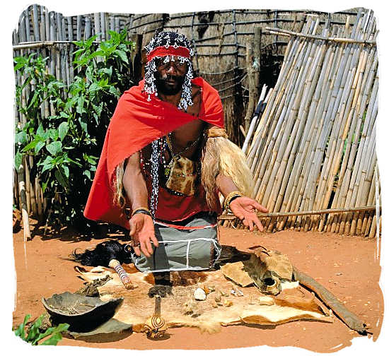 Traditional witchdoctor throwing the bones - South Africa religion overview, South African religions
