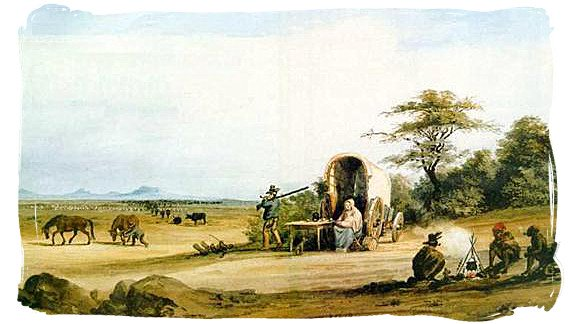 Migrant farmer family moving into the interior in search of more and better grazing - Jan van Riebeeck and the Cape Colony