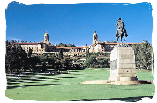 Union buildings in Pretoria, official seat of the South African government, also housing the office of the President of South Africa - South Africa Government, South Africa Government type