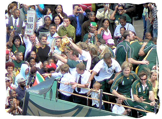 Homecoming of the victorious Springbok national rugby team, showing the William Webb Ellis world cupTrophy - Springbok rugby in South Africa and the South Africa rugby team