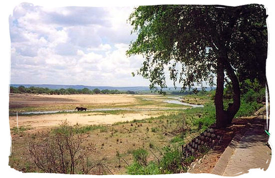 View across the Letaba riverbed from the restaurant area - Letaba main rest camp, Kruger National Park, South Africa
