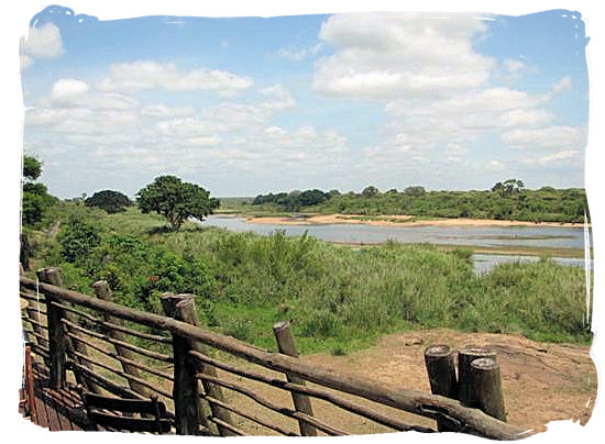 Panorama from the deck of the restaurant and lounge bar at the camp - Lower Sabie Rest Camp in the Kruger National Park, South Africa