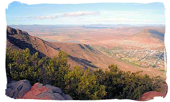 View at Graaff-Reinet down below with the Nqweba dam visible in the left-hand top corner - Camdeboo National Park (previously Karoo Nature Reserve)