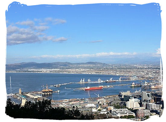 View of Table Bay and Cape Town harbour taken from Signal Hill - Cape Town Sightseeing Highlights of the Cape Peninsula South Africa
