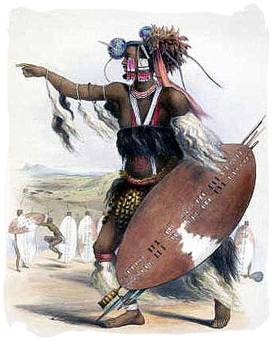 Zulu Warrior Utimuni, nephew of King Shaka, leading one of Shaka's regiments