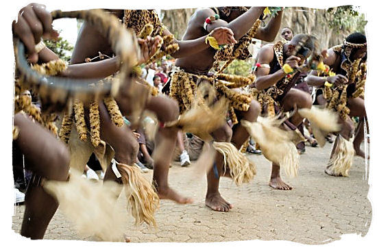Group of Zulu dancers performing a traditional warrior dance - South African dance