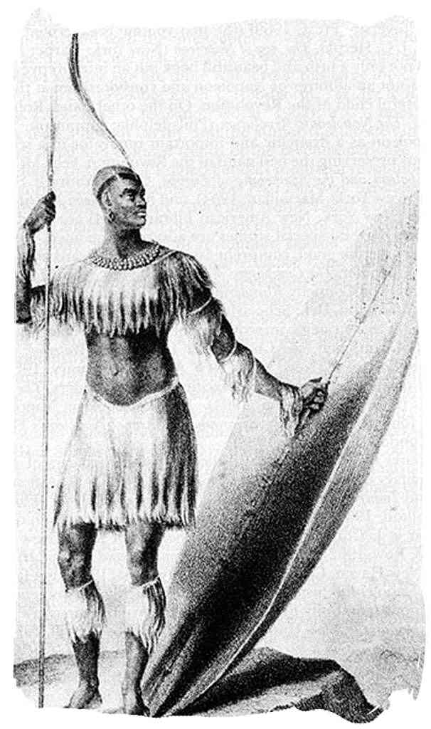 Only known drawing of King Shaka standing with the long throwing assegai and the heavy shield in 1824 - four years before his death - The Zulu Tribe and their legendary King Shaka Zulu
