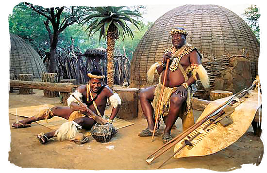 Zulu chief with his weapons and shield at the Shakaland Zulu cultural village - Battle of Blood River
