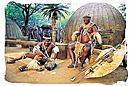 Zulu Chief in front of his dwelling
