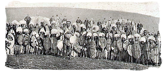 Zulu warriors on a post card from the late 1800s